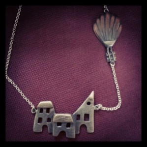 Silver, 9ct gold and copper house and balloon necklace