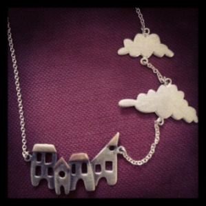 Silver, 9ct gold and copper house and cloud necklace