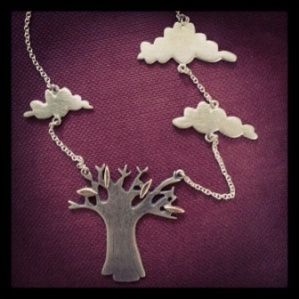 Silver and 9ct gold baobab and cloud necklace