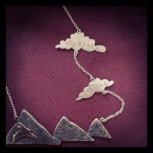 Silver and 9ct gold rabbit and cloud necklace