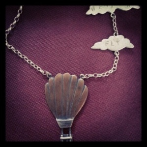 Silver and copper balloon and cloud necklace ('perfect weather to fly')