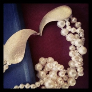 Textured silver clasp with 3 strands twisted freshwater pearls (necklace)